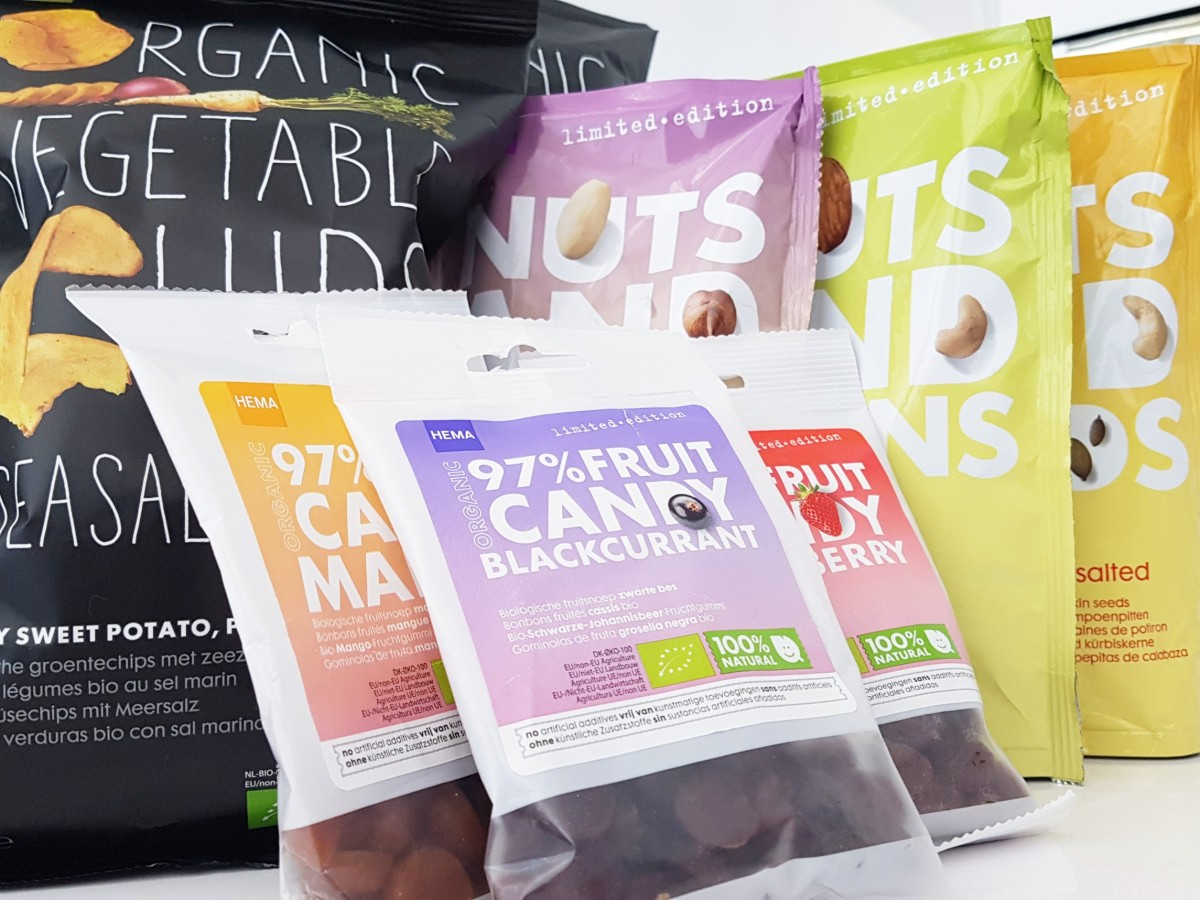 HEMA Fruit Candy, Raw noten, Truffel en Veggie Chips!